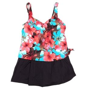 Maxine Of Hollywood Tropical Floral Swim Dress